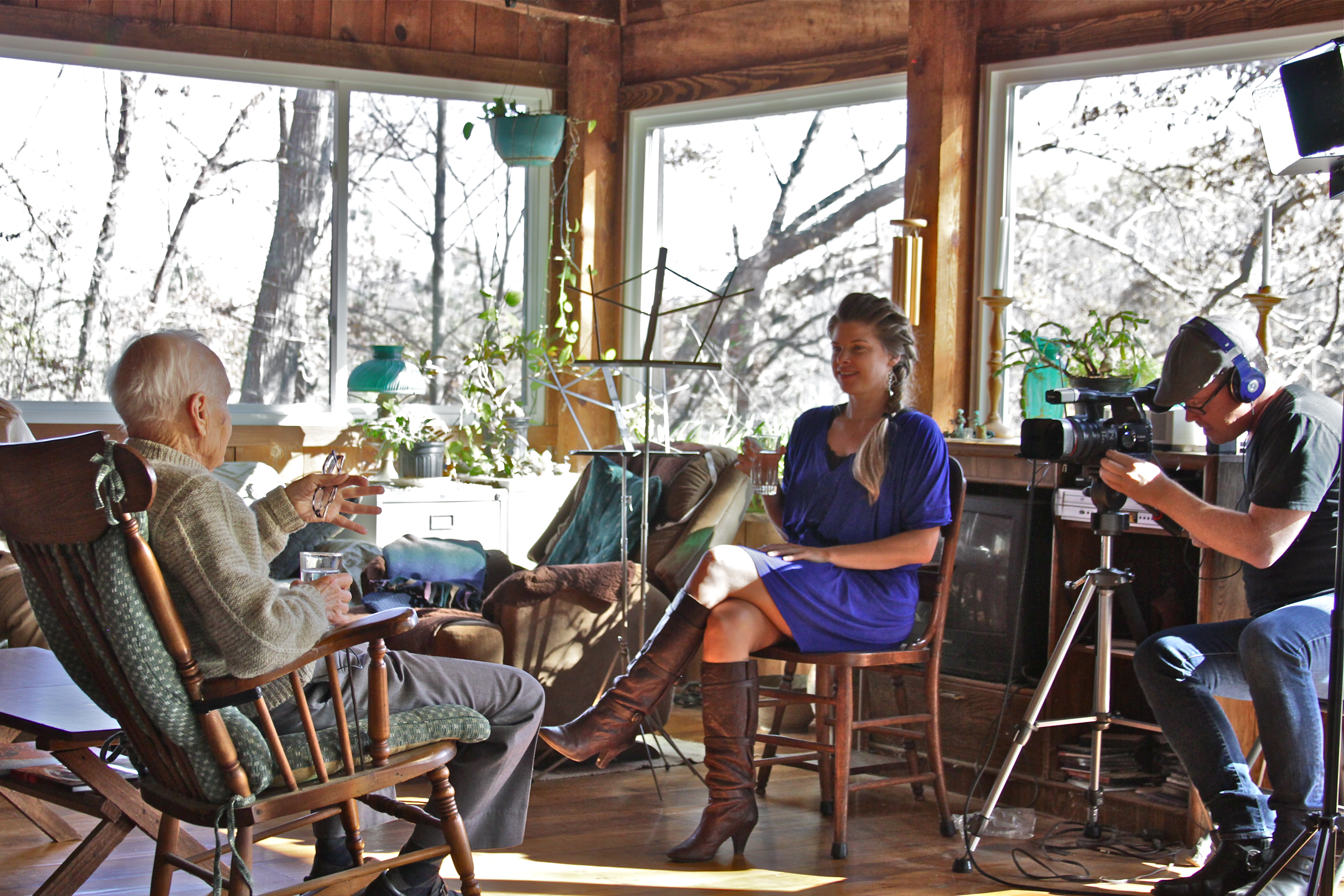 Dr. Rhea Zimmerman & Gregg Marks on set with Joseph Chilton Pearce