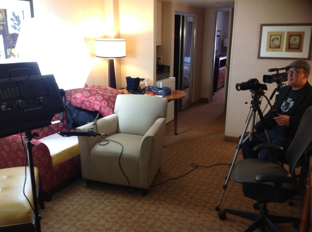 """Gregg Marks as the Director of Photography on """"set"""" in an Atlanta hotel room"""
